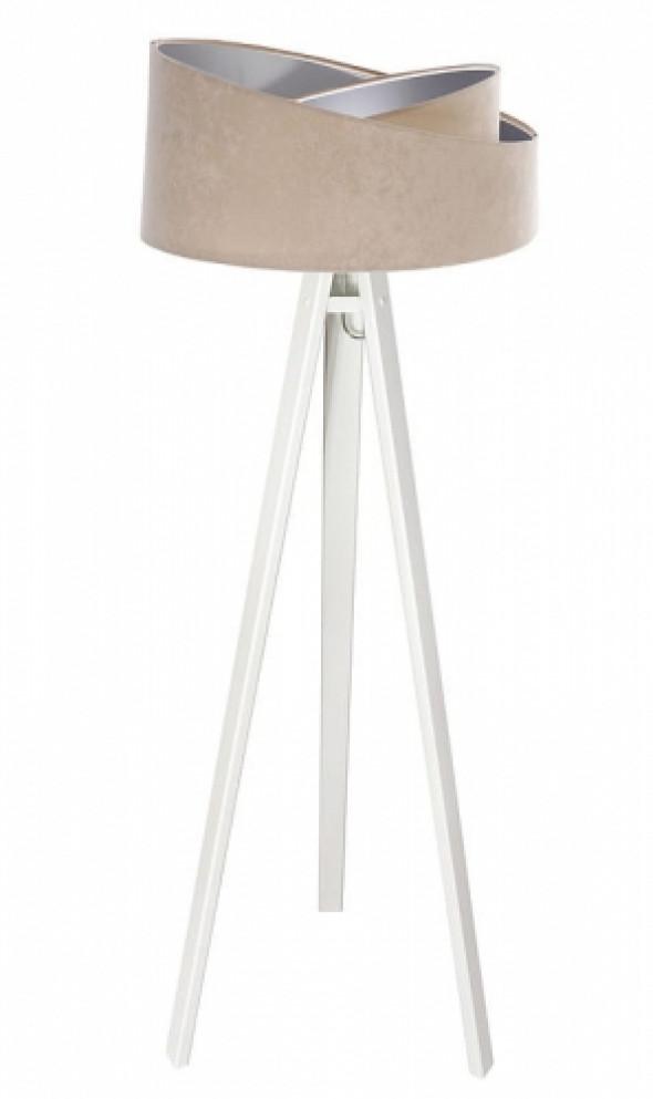 Welurowa lampa podłogowa MD beżowa ze srebrnym wnętrzem