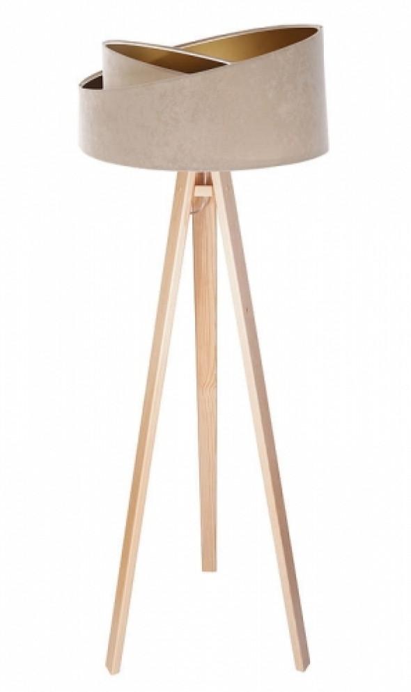 Welurowa lampa podłogowa MD beżowa ze złotym wnętrzem