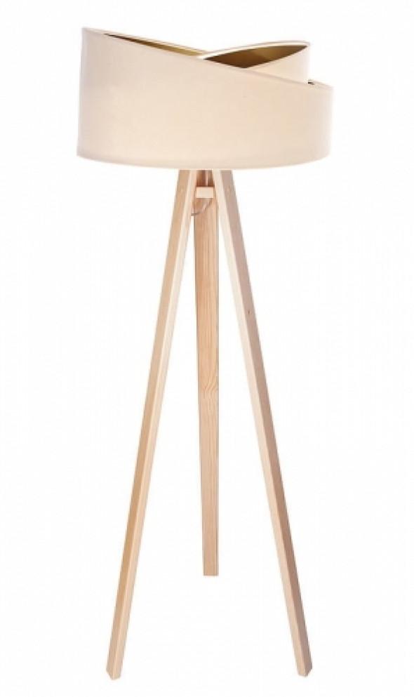 Welurowa lampa podłogowa MD kremowa ze złotym wnętrzem