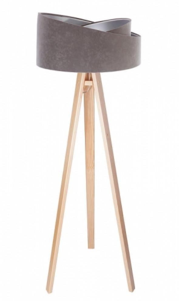 Welurowa lampa podłogowa MD szara ze srebrnym wnętrzem