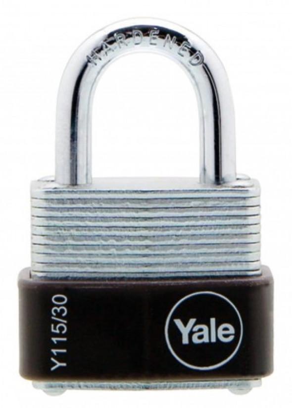 Y115/30/117/1 Mała kłódka ze stali laminowanej z pałąkiem ze stali hartowanej Yale