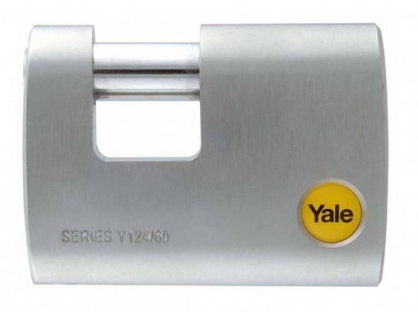 Y124/60/110/1 Kłódka trzepieniowa z pałąkiem ze stali borowej Yale