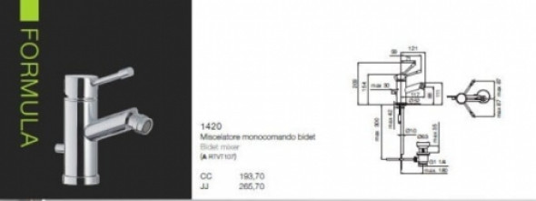 Rubinetterie Treemme bateria bidetowa Formula chrom 1420